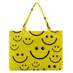 Digitally Created Yellow Happy Smile  Face Wallpaper Medium Zipper Tote Bag