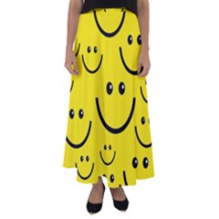 Digitally Created Yellow Happy Smile  Face Wallpaper Flared Maxi Skirt