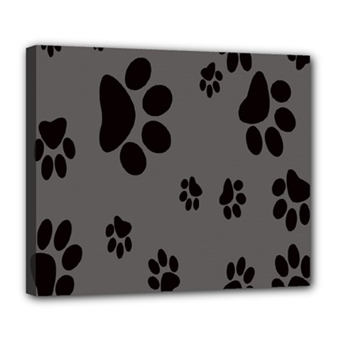Dog Foodprint Paw Prints Seamless Background And Pattern Deluxe Canvas 24  x 20