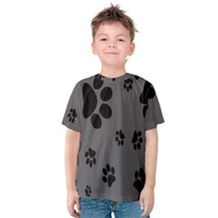 Dog Foodprint Paw Prints Seamless Background And Pattern Kids  Cotton Tee