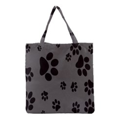 Dog Foodprint Paw Prints Seamless Background And Pattern Grocery Tote Bag