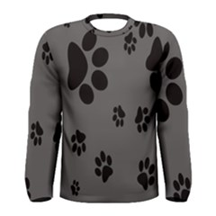 Dog Foodprint Paw Prints Seamless Background And Pattern Men s Long Sleeve Tee