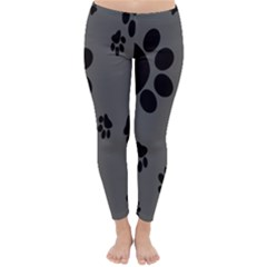 Dog Foodprint Paw Prints Seamless Background And Pattern Classic Winter Leggings