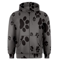 Dog Foodprint Paw Prints Seamless Background And Pattern Men s Zipper Hoodie
