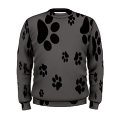 Dog Foodprint Paw Prints Seamless Background And Pattern Men s Sweatshirt