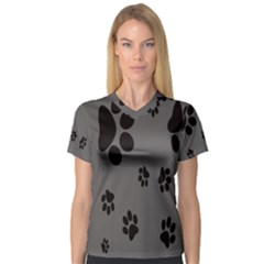 Dog Foodprint Paw Prints Seamless Background And Pattern Women s V-Neck Sport Mesh Tee