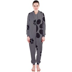 Dog Foodprint Paw Prints Seamless Background And Pattern Hooded Jumpsuit (Ladies)