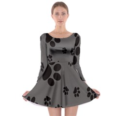 Dog Foodprint Paw Prints Seamless Background And Pattern Long Sleeve Skater Dress