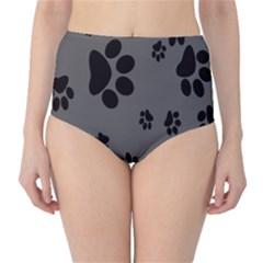 Dog Foodprint Paw Prints Seamless Background And Pattern High Waist Bikini Bottoms