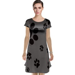 Dog Foodprint Paw Prints Seamless Background And Pattern Cap Sleeve Nightdress