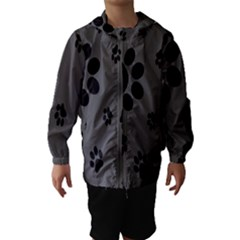 Dog Foodprint Paw Prints Seamless Background And Pattern Hooded Wind Breaker (kids)