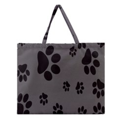 Dog Foodprint Paw Prints Seamless Background And Pattern Zipper Large Tote Bag