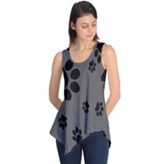 Dog Foodprint Paw Prints Seamless Background And Pattern Sleeveless Tunic