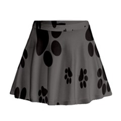 Dog Foodprint Paw Prints Seamless Background And Pattern Mini Flare Skirt