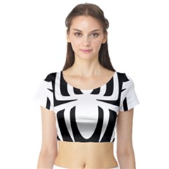 White Spider Short Sleeve Crop Top (Tight Fit)