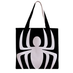 White Spider Zipper Grocery Tote Bag