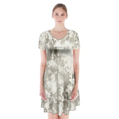 Wall Rock Pattern Structure Dirty Short Sleeve V Neck Flare Dress