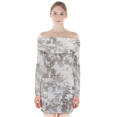 Wall Rock Pattern Structure Dirty Long Sleeve Off Shoulder Dress