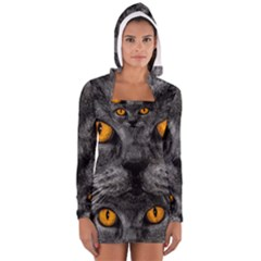 Cat Eyes Background Image Hypnosis Women s Long Sleeve Hooded T-shirt