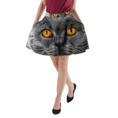 Cat Eyes Background Image Hypnosis A-Line Pocket Skirt