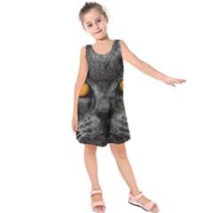 Cat Eyes Background Image Hypnosis Kids  Sleeveless Dress