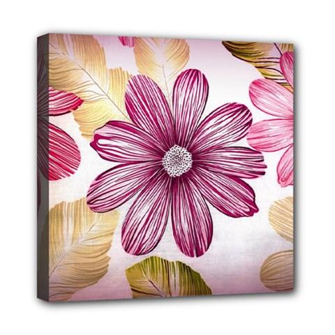 Flower Print Fabric Pattern Texture Mini Canvas 8  x 8