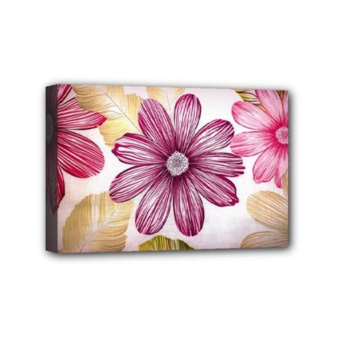 Flower Print Fabric Pattern Texture Mini Canvas 6  X 4