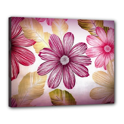 Flower Print Fabric Pattern Texture Canvas 20  x 16