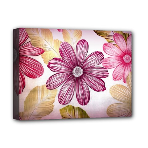 Flower Print Fabric Pattern Texture Deluxe Canvas 16  x 12