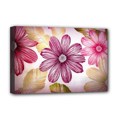 Flower Print Fabric Pattern Texture Deluxe Canvas 18  X 12