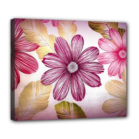 Flower Print Fabric Pattern Texture Deluxe Canvas 24  X 20