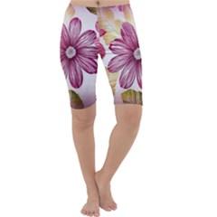 Flower Print Fabric Pattern Texture Cropped Leggings
