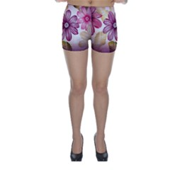 Flower Print Fabric Pattern Texture Skinny Shorts