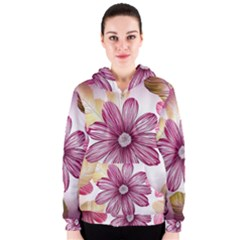 Flower Print Fabric Pattern Texture Women s Zipper Hoodie