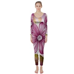 Flower Print Fabric Pattern Texture Long Sleeve Catsuit
