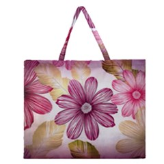 Flower Print Fabric Pattern Texture Zipper Large Tote Bag