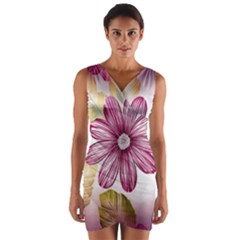 Flower Print Fabric Pattern Texture Wrap Front Bodycon Dress