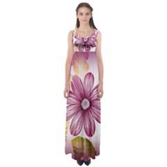 Flower Print Fabric Pattern Texture Empire Waist Maxi Dress