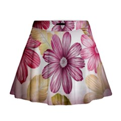 Flower Print Fabric Pattern Texture Mini Flare Skirt