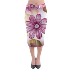 Flower Print Fabric Pattern Texture Midi Pencil Skirt