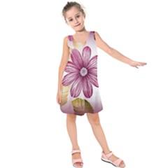 Flower Print Fabric Pattern Texture Kids  Sleeveless Dress