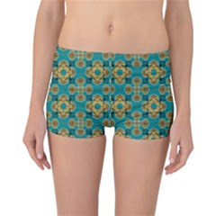 Vintage Pattern Unique Elegant Reversible Boyleg Bikini Bottoms