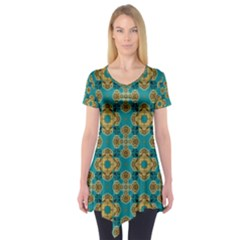 Vintage Pattern Unique Elegant Short Sleeve Tunic