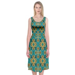 Vintage Pattern Unique Elegant Midi Sleeveless Dress