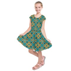 Vintage Pattern Unique Elegant Kids  Short Sleeve Dress