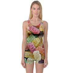Jelly Beans Candy Sour Sweet One Piece Boyleg Swimsuit