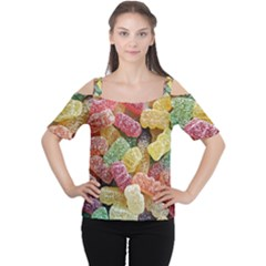 Jelly Beans Candy Sour Sweet Women s Cutout Shoulder Tee