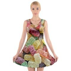 Jelly Beans Candy Sour Sweet V-Neck Sleeveless Skater Dress