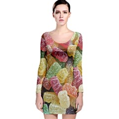 Jelly Beans Candy Sour Sweet Long Sleeve Velvet Bodycon Dress