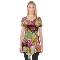 Jelly Beans Candy Sour Sweet Short Sleeve Tunic